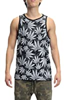 Victorious Leaf Print Tank Top TT46 - BLACK/WHITE