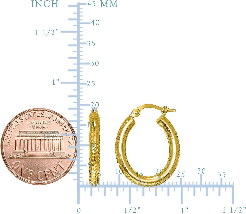 14K Gold Diamond Cut Oval Sparkle Hoop Earrings