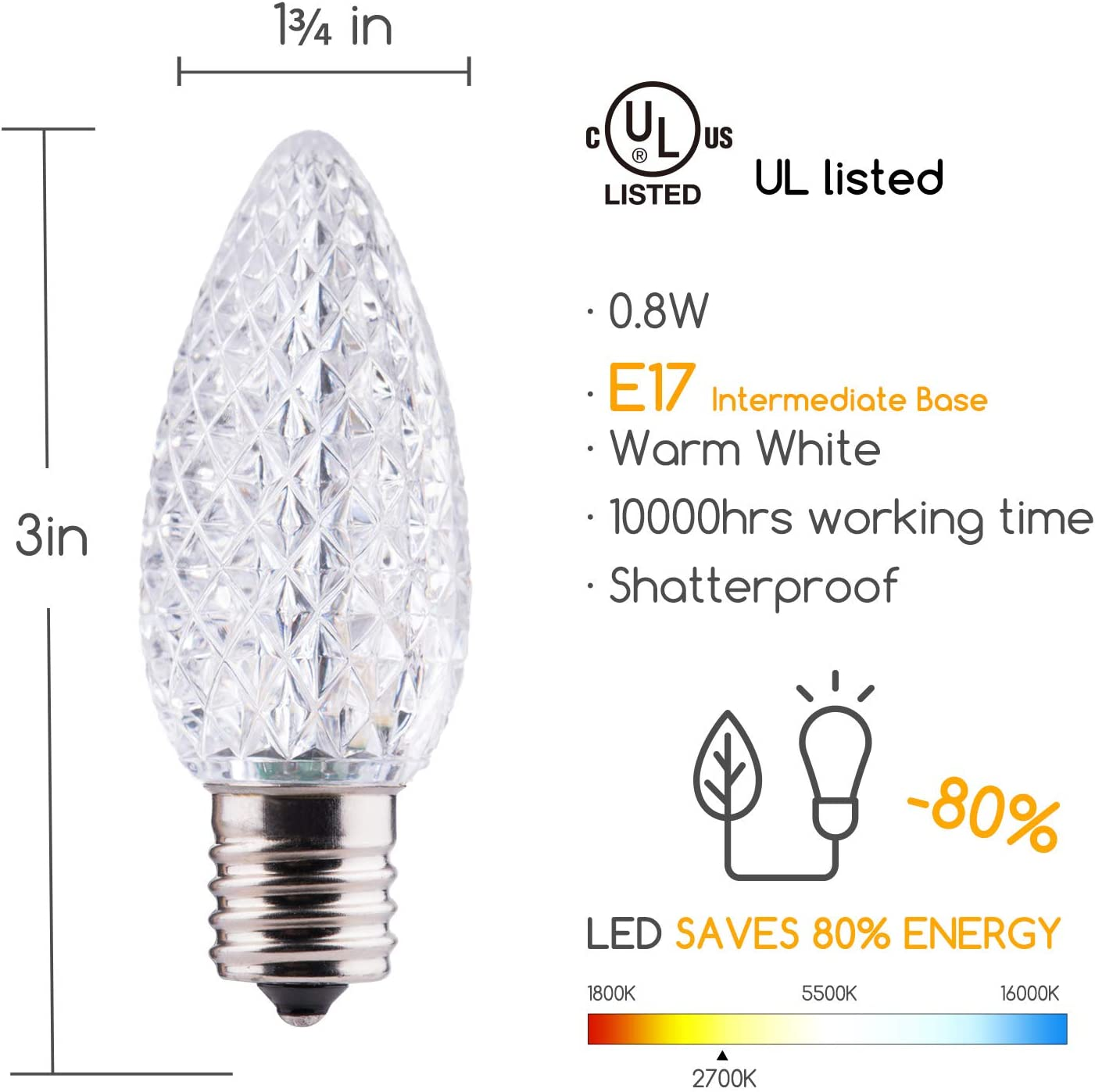 LEDs Commercial Grade Dimmable Bulbs C9 Shatterproof LED Bulb for Christmas String Light Brightown 50 Pack C9 LED Replacement Christmas Light Bulb E17 Intermediate Base 2 Diode Cool White