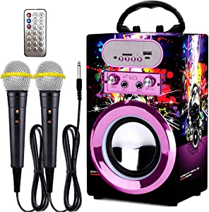 IndeCool Kids Bluetooth Karaoke Machine with 2 Microphones, Remote Control Wireless Karaoke Speaker Portable Karaoke Machine Music MP3 Player for Kids Adult Party Gift (Multicolored)