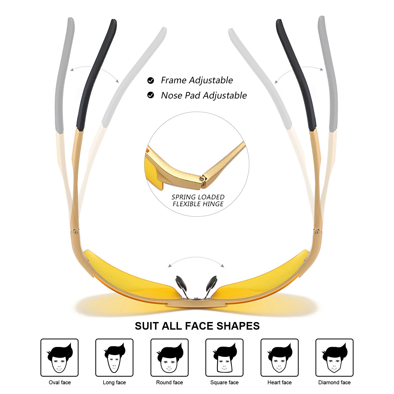 Protezione 100/% UVA UVB Myiaur Occhiali da Sole Gialli Mode Sportivi Style HD Polarizzate per Guida Notturna Antiriflesso