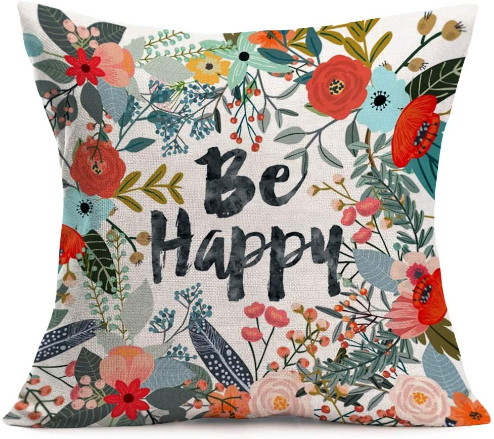 Asminifor Throw Pillow Covers Colored Flower Grass Leaf Wreath With Be Happy Quote Words Printed Decorative Pillow Case Cushion Cover Home Decoration Cotton Linen Pillowcases 18 X18 Floral Happy Home Kitchen