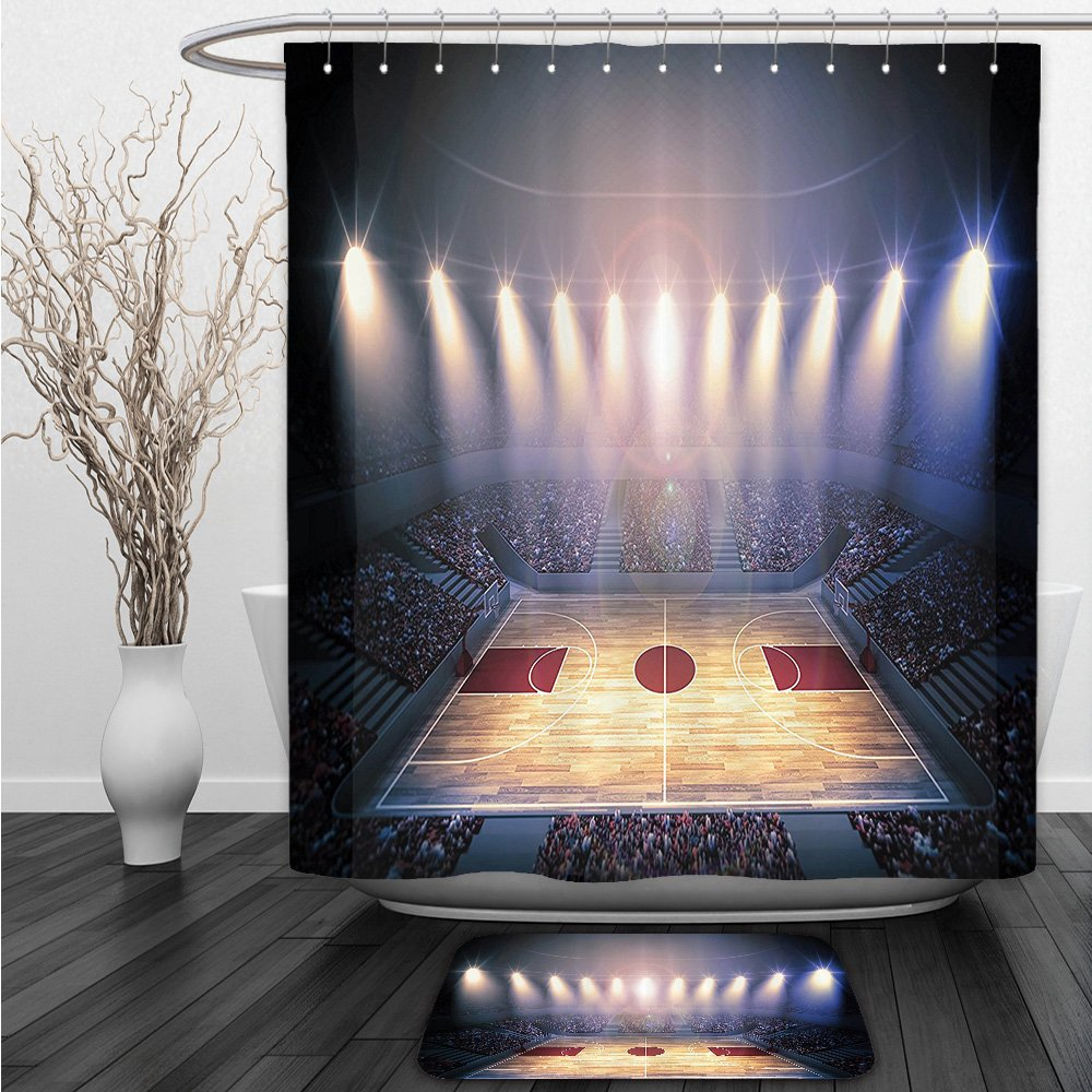 Vipsung Shower Curtain And Ground MatSports Decor Set Crowded Basketball Arena Just Before The Game Starts School Tournament Theme Image Beige Nacy BrownShower Curtain Set with Bath Mats Rugs