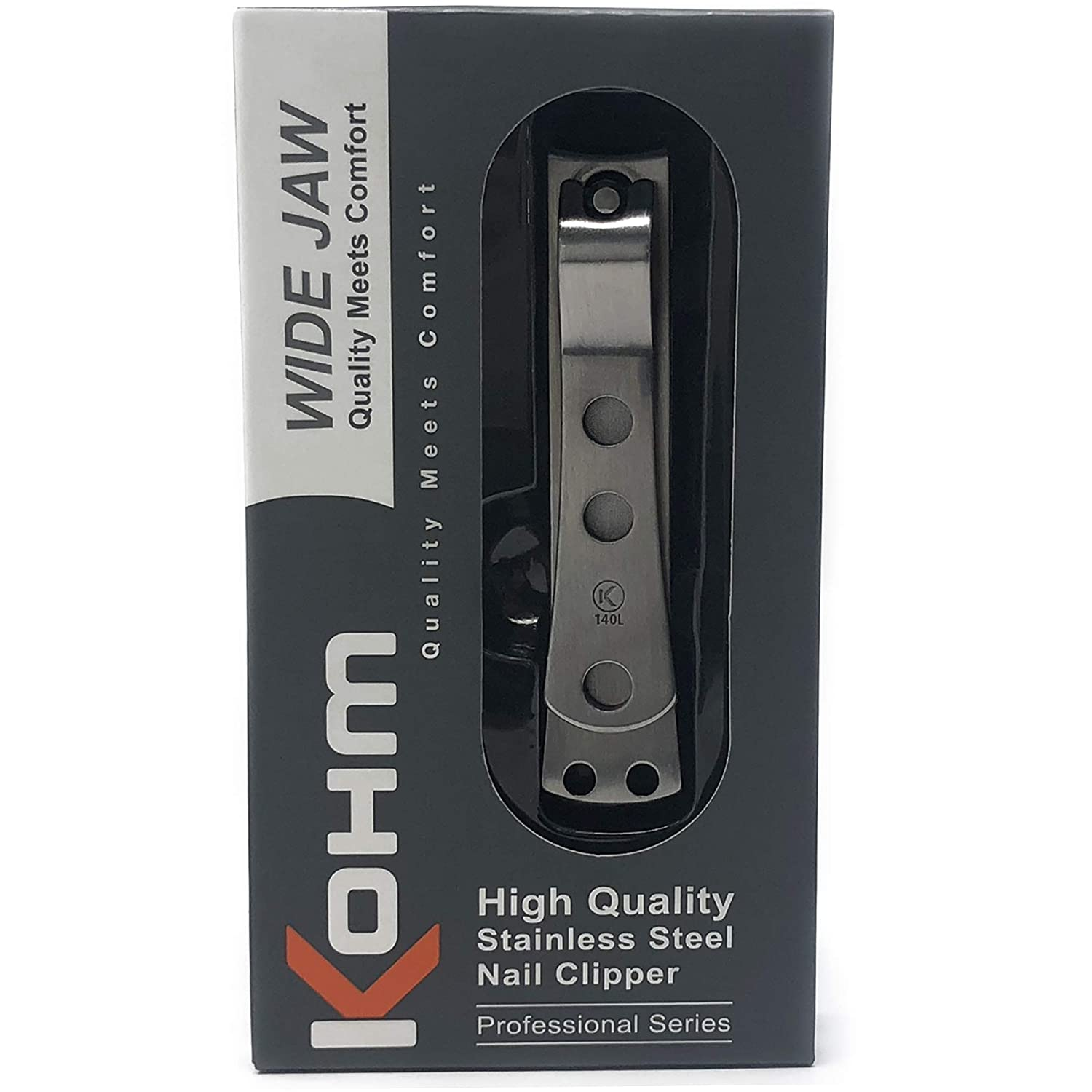 Kohm CP-140L Toenail Clipper for Thick Nails - 4mm Wide Jaw Opening, Curved Blades, Stainless Steel Whole Health Supply