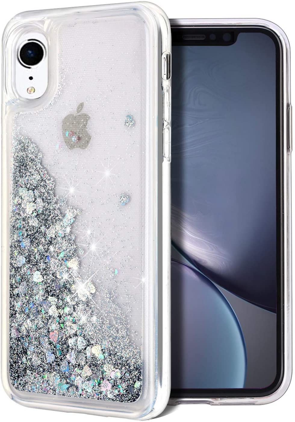 for iPhone XR Case, WORLDMOM Double Layer Design Bling Flowing Liquid Floating Sparkle Colorful Glitter Waterfall TPU Protective Phone Case for Apple iPhone XR [6.1 Inch 2018], Silver
