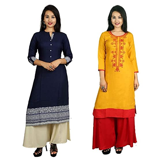 dd60808d231 Sangria Women s Casual Cotton Kurti (Pack Of 2)  Amazon.in  Clothing ...