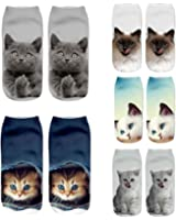 Women Girls Funny Cute Cat Unicorn Emoji Ankle Socks Gift Packs