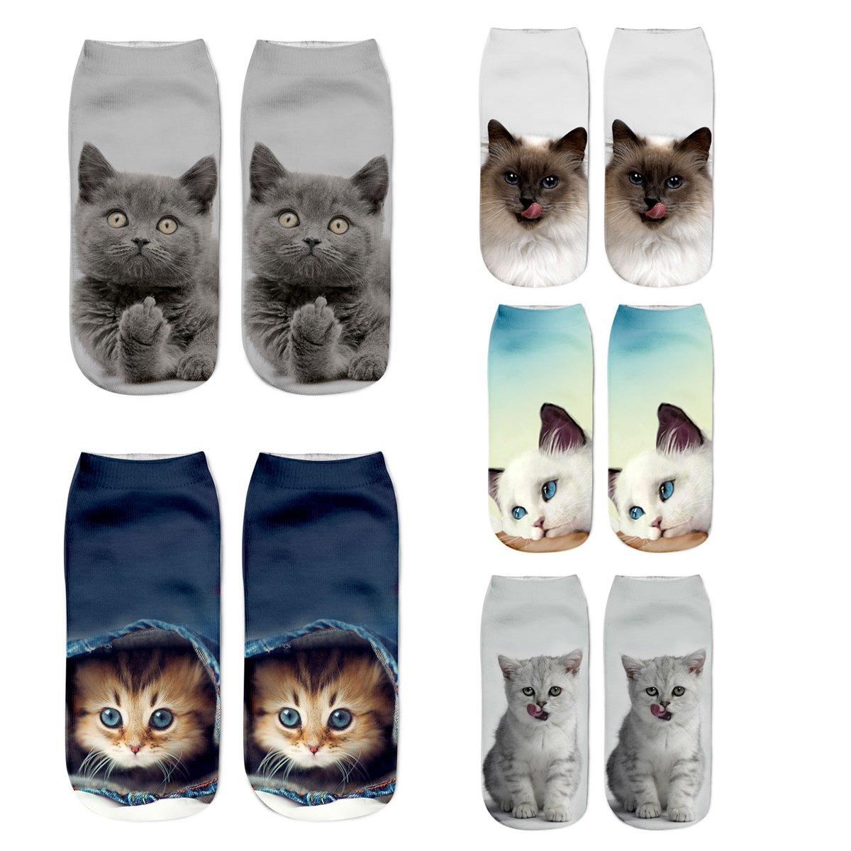 Women Girls 3D Funny Animals Ankle Fun Cat Novelty Socks