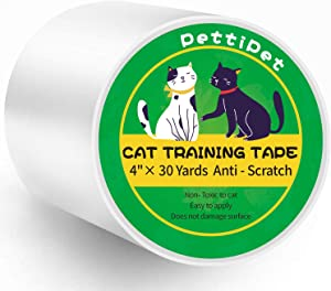 PettiPet Cat Scratch Deterrent Tape, Cat Training Tape 4 Inches x 30 Yards(33% Wider) Anti Scratch Furniture Protectors from Cats Scratching 100% Transparent Double Sided Tape for Cat Pet & Kid Safe