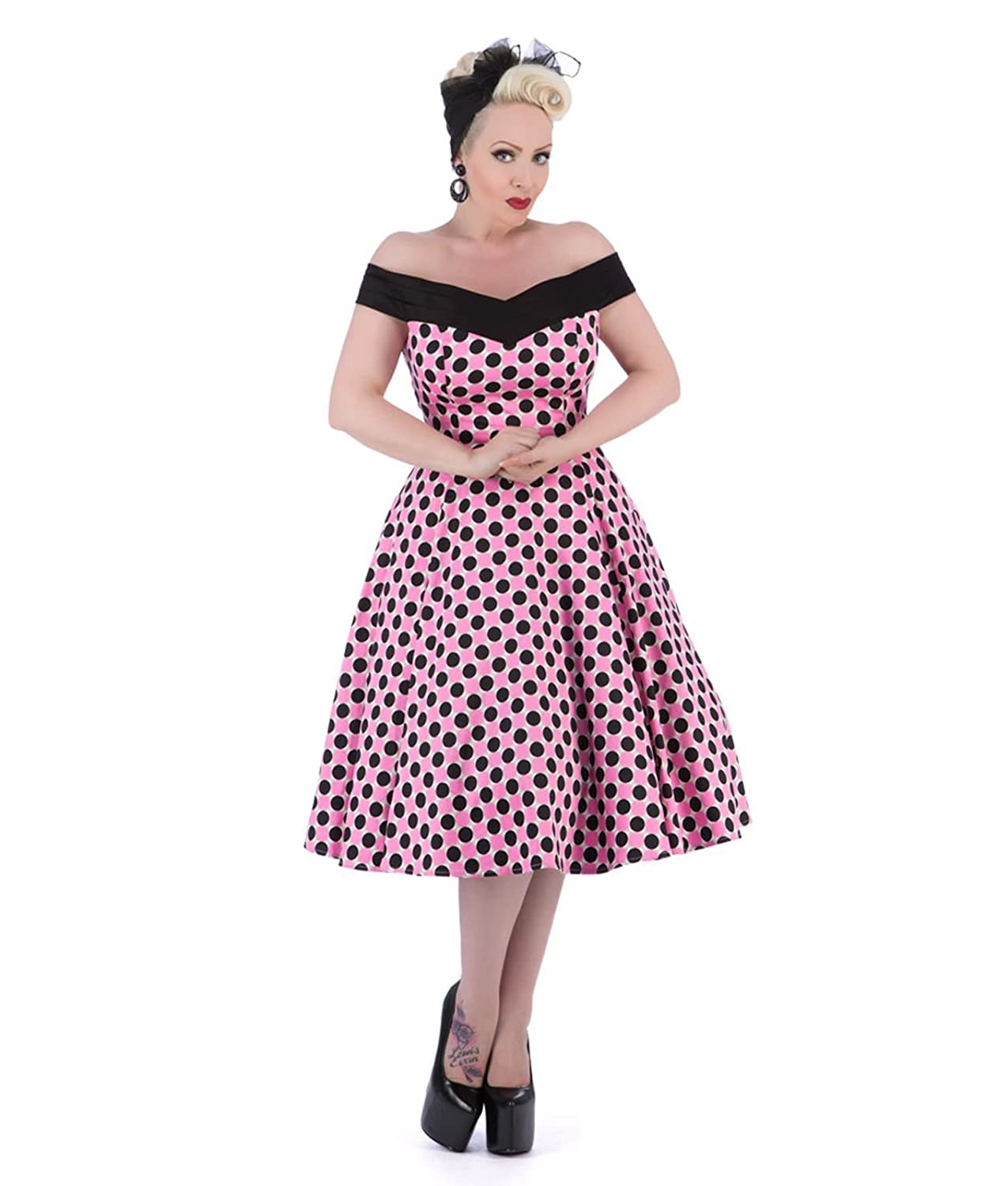 Tiger Milly H R London 50 S Black Pink Polka Dot Dress