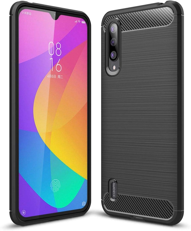 Funda para Xiaomi Mi 9 Lite/Mi CC9 Rugged Armor, Silicona Carcasa Xiaomi Mi 9 Lite/Mi CC9 Fibra de Carbono TPU Case Flexible Ultra Delgada Absorción de Choque Resistente Caso, Negro