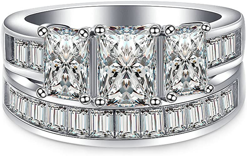 T/&F-Jewelry Luxury Prince Cut White Zircon Silver Color Ring Jewelry for Women Wedding Engagement Rings