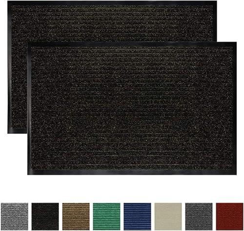 Gorilla Grip Original Low Profile Rubber Door Mat, 35×23, Pack of 2, Durable Doormat for Indoor and Outdoor, Waterproof, Easy Clean, Home Rug Mats for Entry, Patio, High Traffic, Black