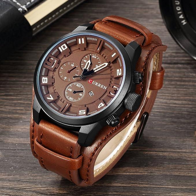 CURREN 8225 Reloj de pulsera para hombre Reloj de pulsera de cuero de cuarzo militar de lujo deportivo Reloj de hombre marrón: Amazon.es: Relojes