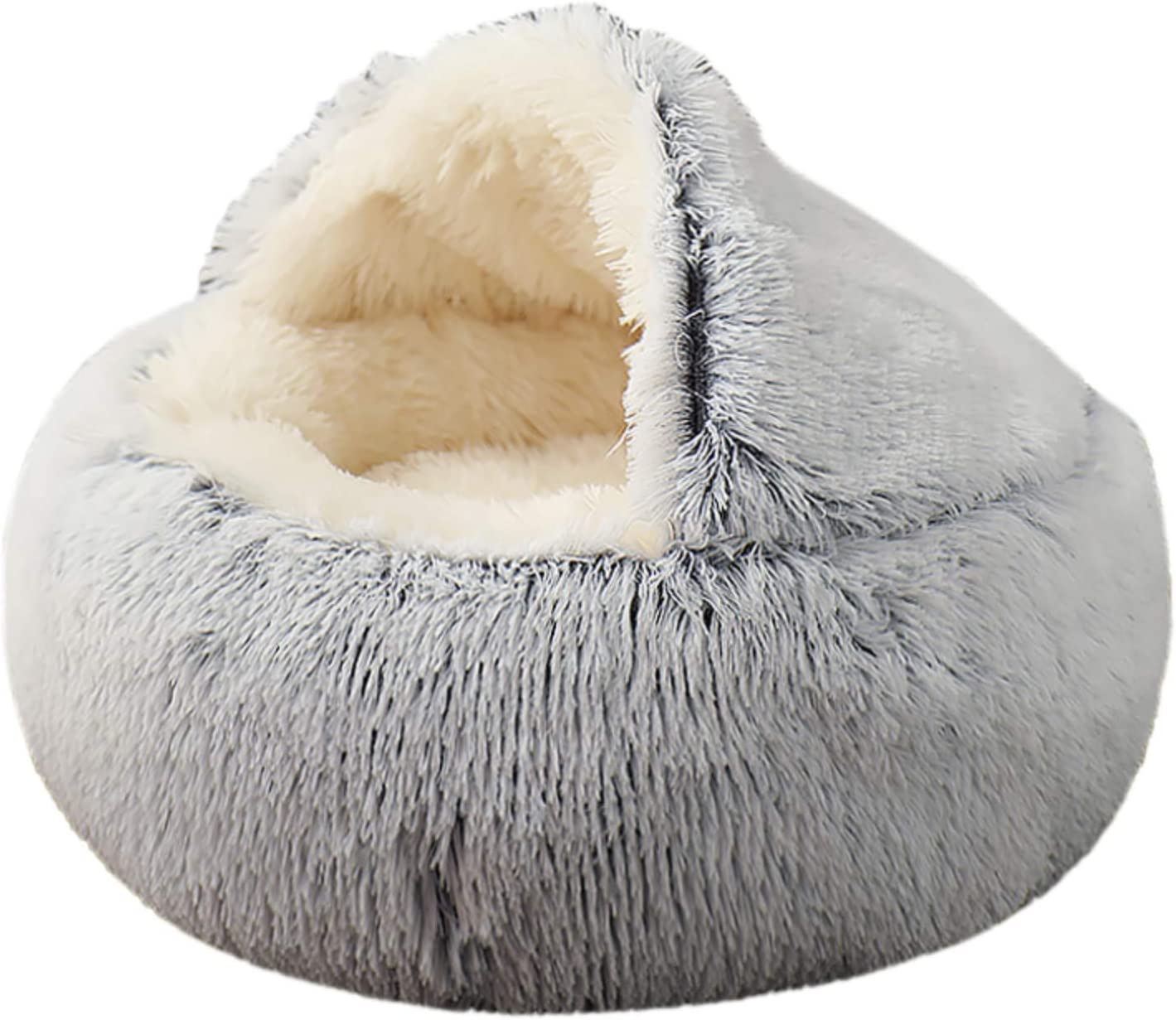 MIEMIE Cat Bed Round Soft Plush Burrowing Cave Hooded Cat Bed Donut for Dogs & Cats, Faux Fur Cuddler Round Comfortable Self Warming pet Bed, Machine Washable, Waterproof Bottom, Large, Grey