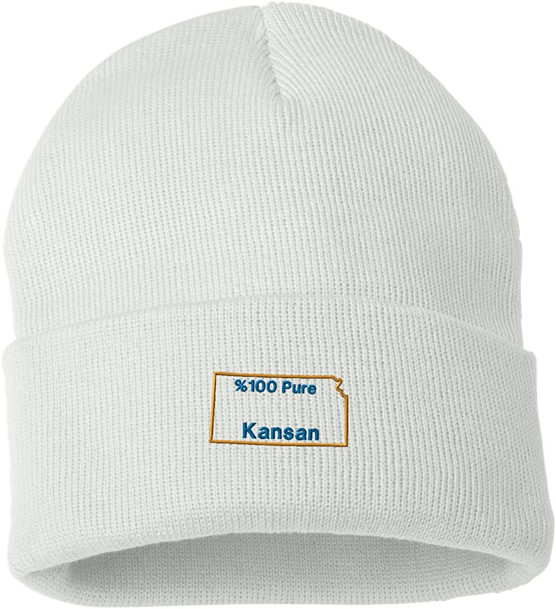 /%100 Pure Kansan Custom Personalized Embroidery Embroidered Beanie