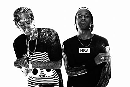 Wiz khalifa asap rocky smoke rap music black white poster 24x36