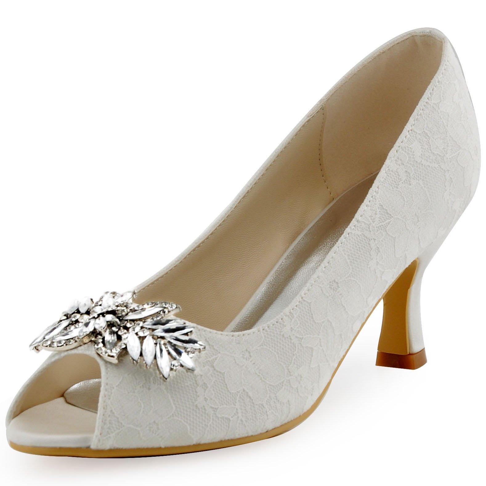 ElegantPark HP1538 Women Peep Toe Pumps Leaf Rhinestones Comfort Heel Lace Wedding Bridal Dress Shoes Ivory US 9
