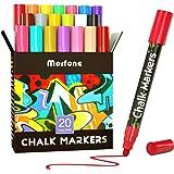 Liquid Chalk Markers, Morfone 20 Virbrant Colors Chalk Pens Erasable Art Marker for Chalkboards, Blackboard, Signs, Windows,