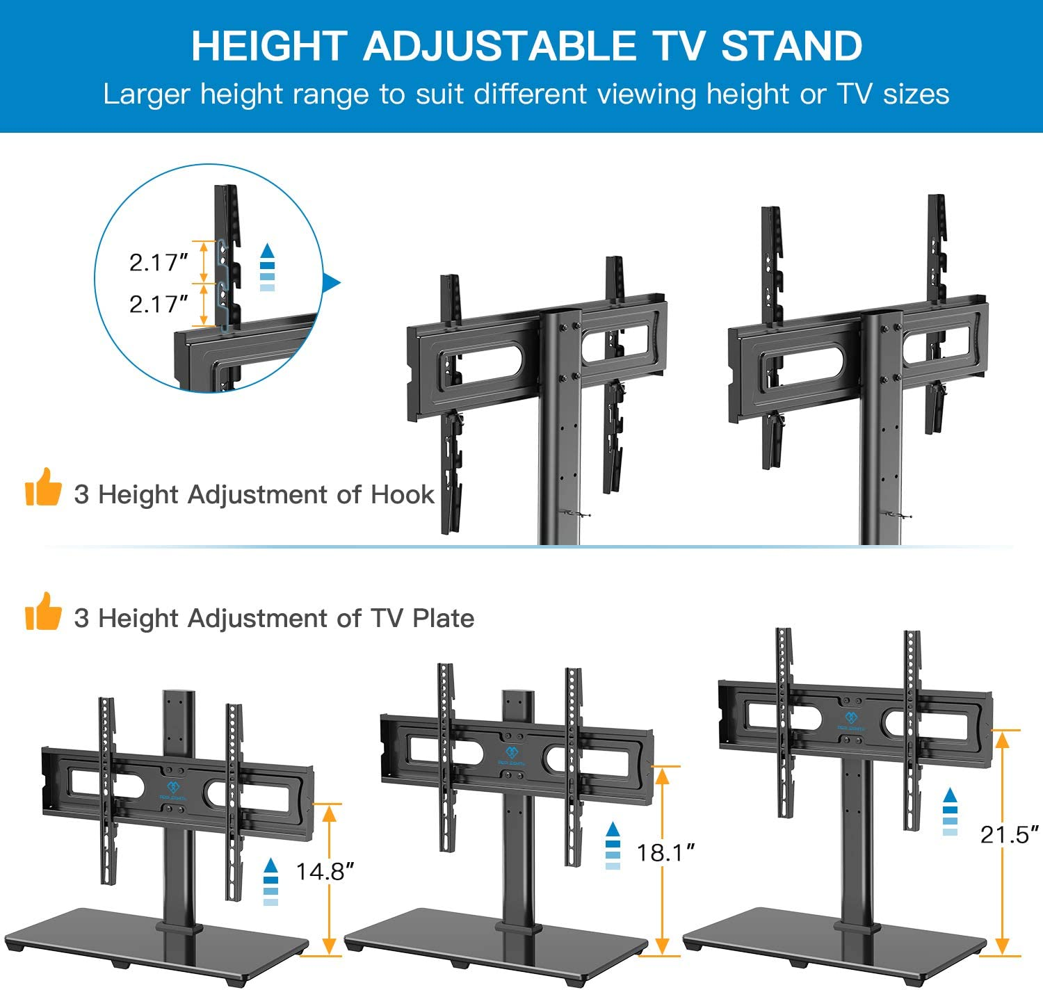 PERLESMITH Universal TV Stand Table Top TV Base for 37 to 70 inch LCD LED OLED 4K Flat Screen TVs - Height Adjustable TV Mount Stand with Tempered Glass Base, VESA 600x400mm, Holds up to 99lbs