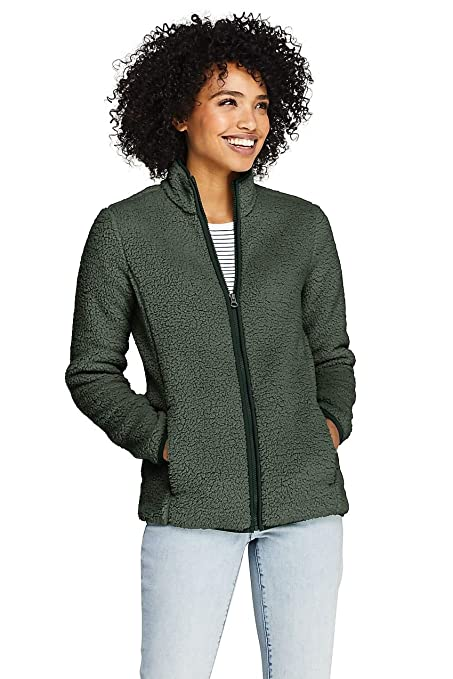 d24ff1d0521 Lands' End Women's Cozy Sherpa Fleece Jacket at Amazon Women's Coats Shop