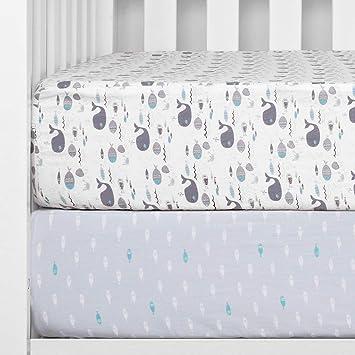 Calle principal bañera no pueden ver  Amazon.com: TILLYOU Juego de sábanas de cuna estampadas, 100% algodón  egipcio para bebés y niñas, suave transpirable, 28.0 x 52.0 in, 2 unidades  de Sea World & Ocean Fish: Baby