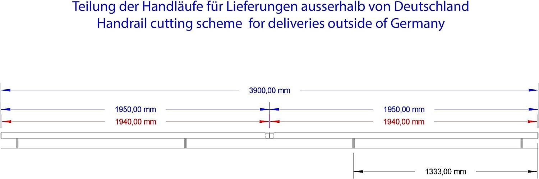 Edelstahl Handlauf V2A 42,4mm 240K geschliffen Wandhandlauf mit runder Endkappe Halbkugel 2100 mm