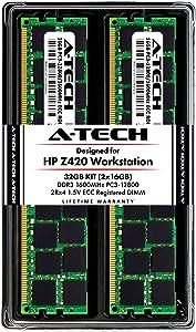 A-Tech 32GB ECC Registered Memory Kit for HP Z420 Workstation (2 x 16GB) ECC RDIMM DDR3 PC3-12800 1600MHz 240-Pin DIMM 2Rx4 1.5V Dual Rank RAM Upgrade