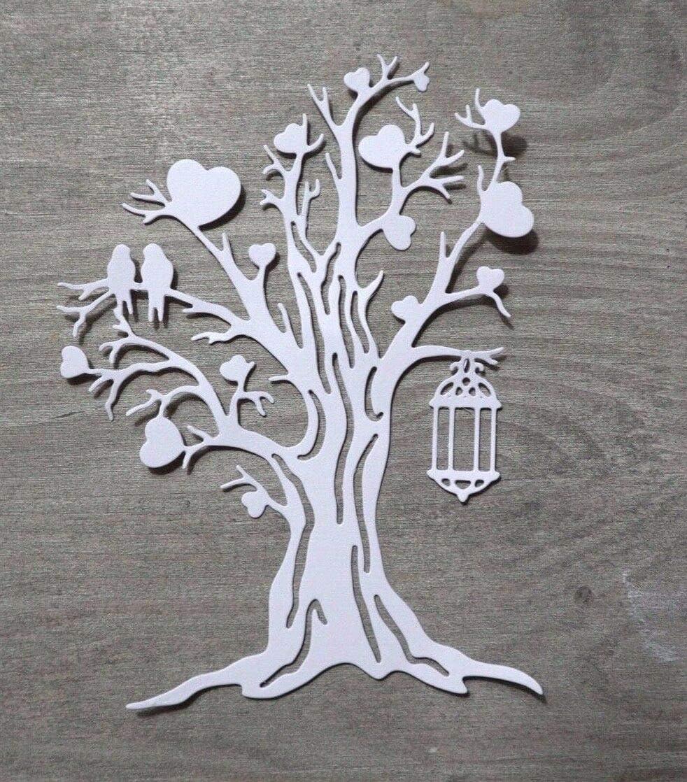 G/ästebuch Simplelettering Stanzschablone//Cutting Dies Hochzeit Herz Baum Liebe V/ögel 14 cm f