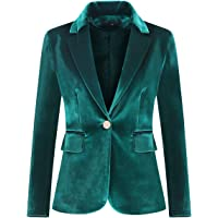 Women's Velvet 1 Button Blazer Jacket Office Work Suit Jacket Party Dress Coat