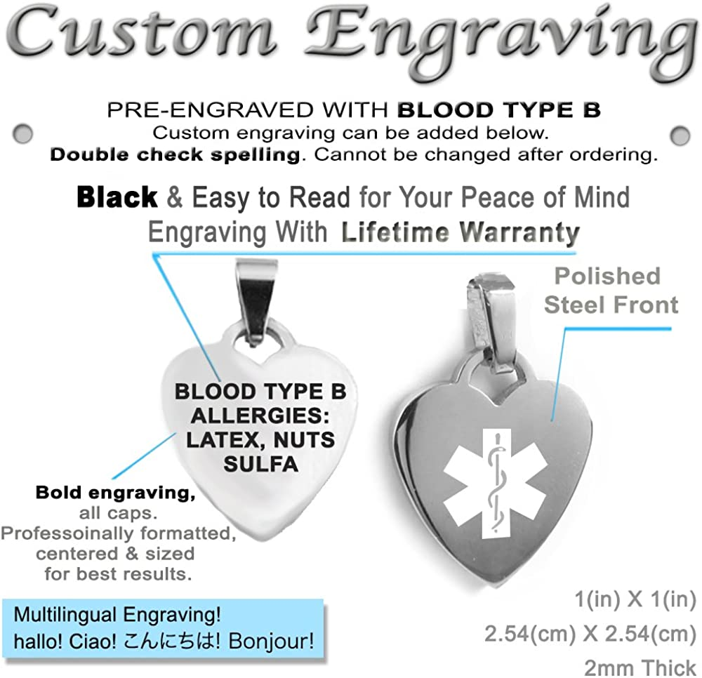 Red Millefiori Glass White My Identity Doctor Pre-Engraved /& Customized Blood Type B Charm Medical Bracelet