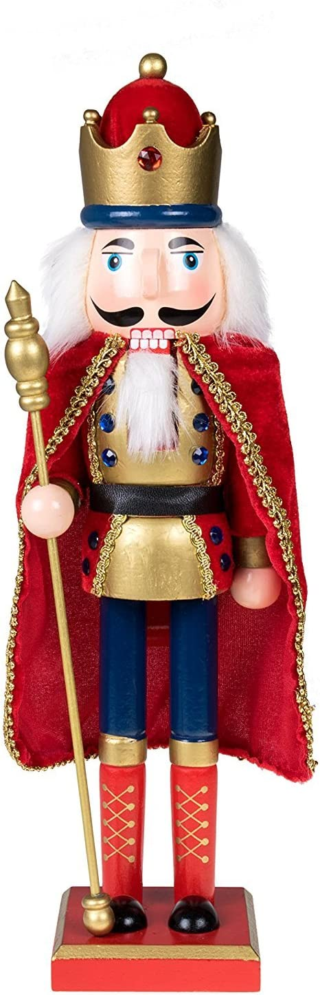 """Clever Creations Traditional King Nutcracker Gold and Red Uniform 