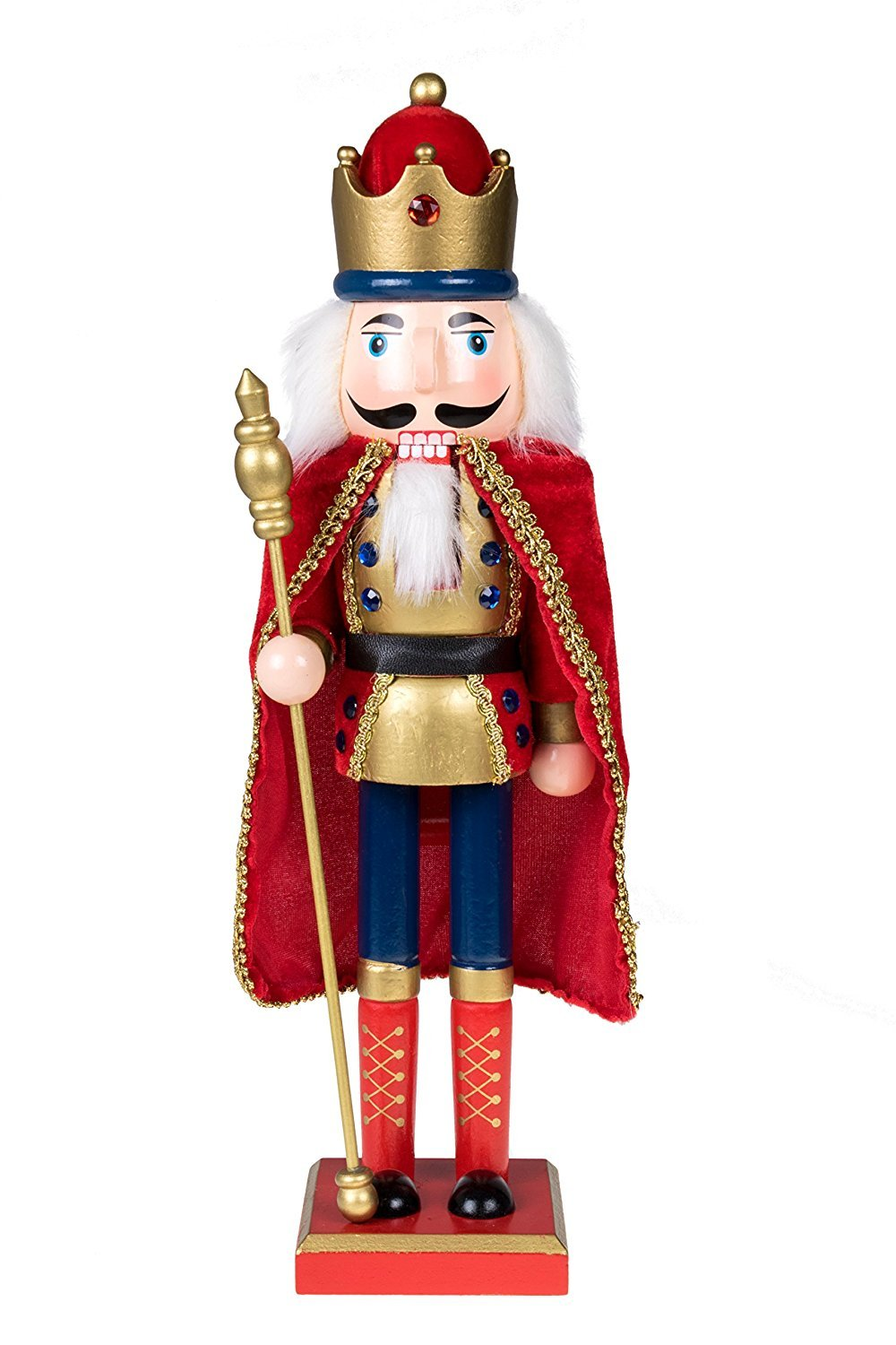 Traditional King Nutcracker by Clever Creations | Gold and Red Uniform | Jeweled Crown | Holding Gold Scepter | Collectible Wooden Christmas Nutcracker | Festive Holiday Decor | 100% Wood | 15'' Tall