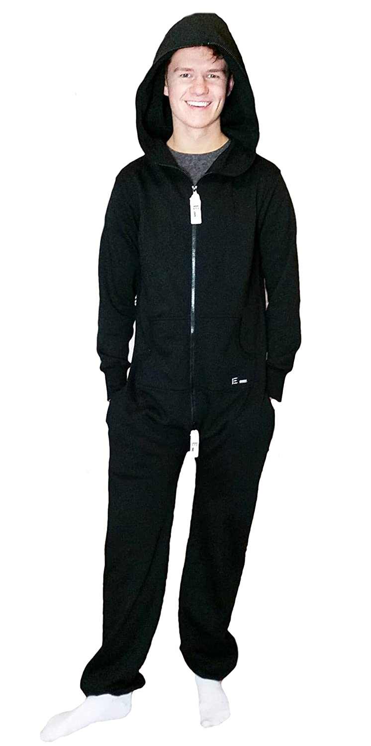TopsandDresses Mens Adult Onesie in Comfortable Cotton - All in One in Plain Black Grey Marl with Pockets, Size Small - XXL