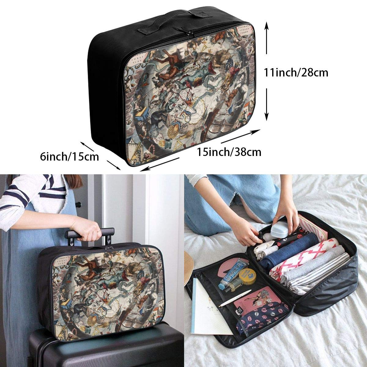 ADGAI Intricate Oil Painting Canvas Travel Weekender Bag,Fashion Custom Lightweight Large Capacity Portable Luggage Bag,Suitcase Trolley Bag