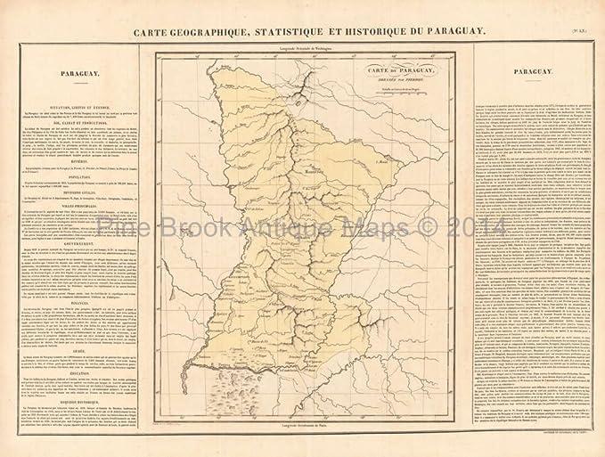 Amazon.com: Paraguay Antique Map Buchon 1825 Original ...