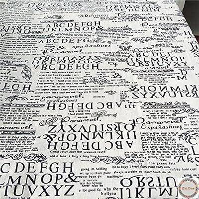 ZAIONE Vintage Retro Carta Europea Impreso Algodón Lino Agujas Tela Blanca Tela Tapicería Tela Tela Tela Tela Tela Tela Bolsa de Costura Patchwork DIY Craft Aplique por la mitad Yard Ancho 60