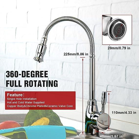Tapcet - Grifo con tubo flexible para la cocina, de acero inoxidable, para agua caliente y fría, juntas de calidad, giro de 360 grados normative europee: ...