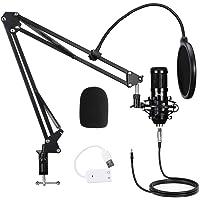 Mugig Micrófono Condensador USB Kit de Micrófono para PC con Montura de Metal Antivibraciones, Soporte de Brazo, Filtro…