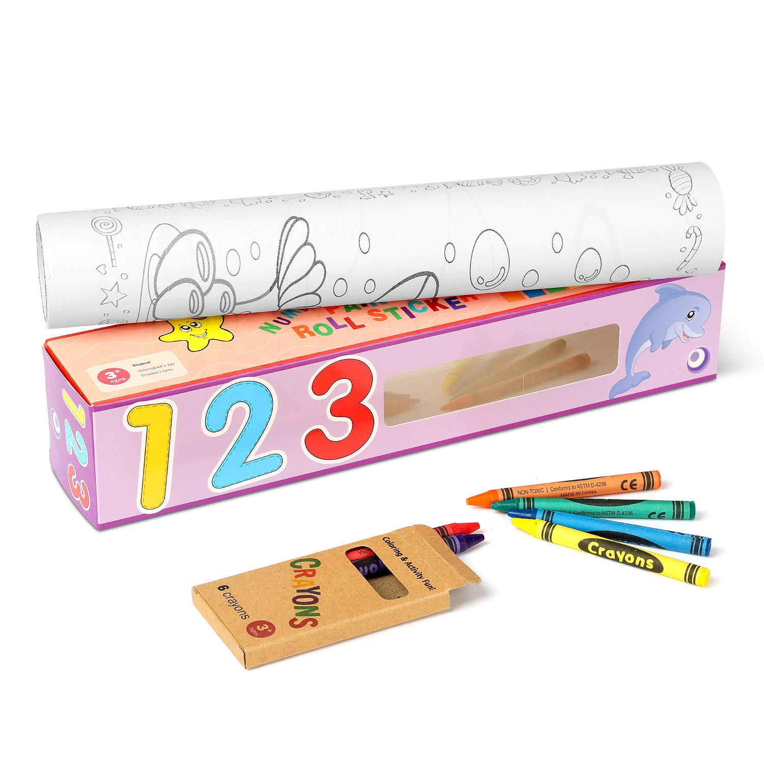 Betibeti 15.6 Foot Sticker Coloring Roll Counting Continuous Coloring Paper Great for Group Coloring Ages 3