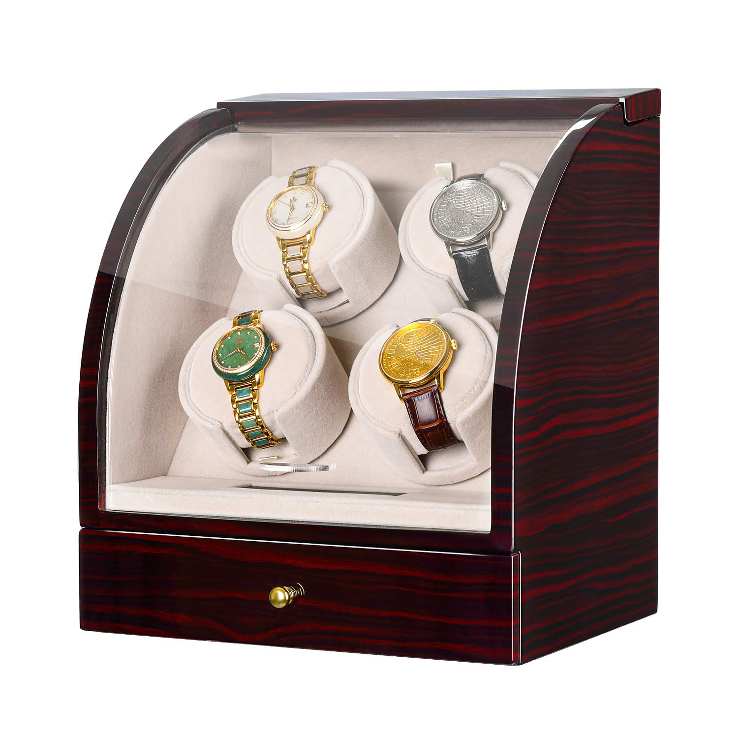CHIYODA Automatic Quad Watch Winder with Quiet Mabuchi Motor, LCD Digital Touch Display, 3 Jewelry Storage by CHIYODA
