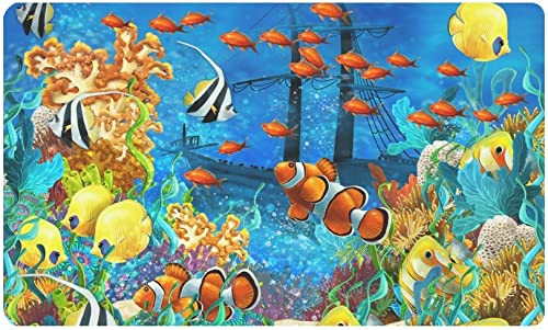 INTERESTPRINT Tropical Coral Reef Fishes Ocean Sea Life Doormat Anti-Slip Entrance Mat Floor Rug Indoor Outdoor Door Mats Home Decor, Rubber Backing Large 30 L x 18 W