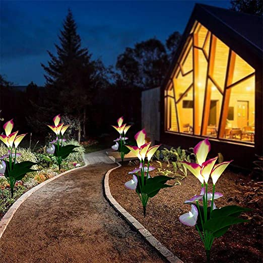 WATOPI - Luces solares para jardín con forma de cala y lirio, multicolor, funciona con energía solar, para decoración de patios, patios, flores más grandes y paneles solares más amplios: Amazon.es: Iluminación