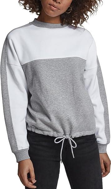 Urban Classics Ladies Oversize 2-Tone Stripe Crew, Jersey para Mujer, Multicolor (Grey/White 01219), Large
