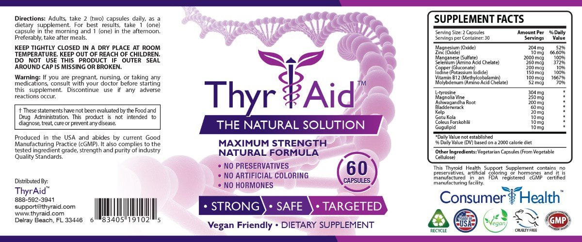 ThyrAid: Best Thyroid Support Supplement - Boosts Metabolism & Energy Levels and Maintains Healthy Weight - Supports Healthy Thyroid Function -Vegan friendly Formula - 1 Bottle (1 Month Supply)