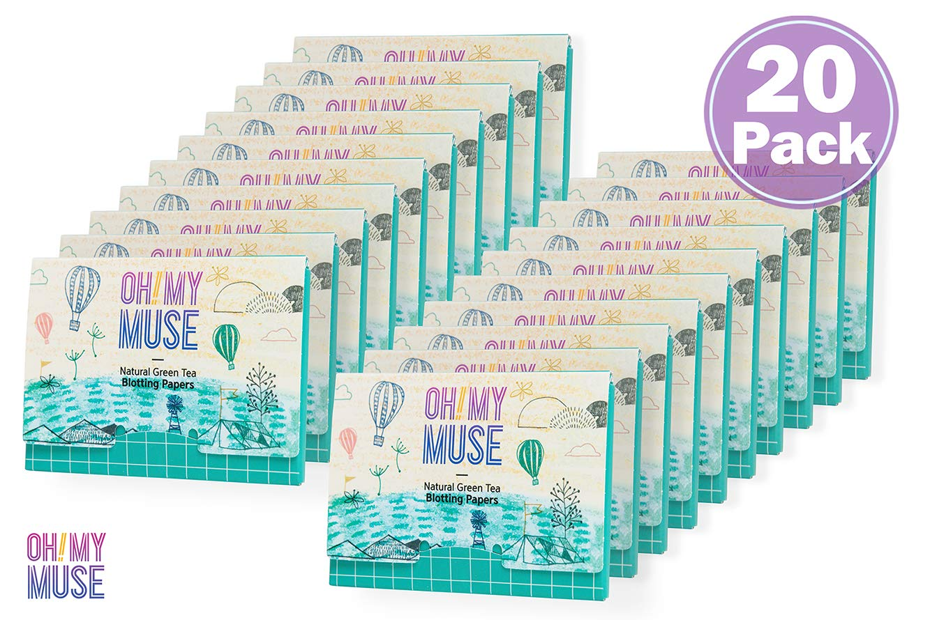 [Oh!My Muse] Natural Green Tea Oil Absorbing Sheets, Blotting Paper, 50 count (20 packs) by Oh!My Muse