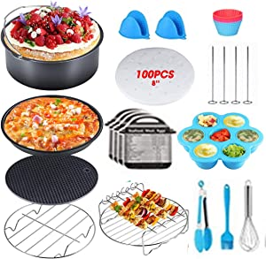 8 Inch Air Fryer Accessories,Accessories for Air Fryer Fits all 5.8Qt, 6Qt Air Fryer,Nonstick Coating Dishwasher Safe,with Cookbook for Baking Basket Pizza Plate Grill Pot Kitchen Cooking Tool