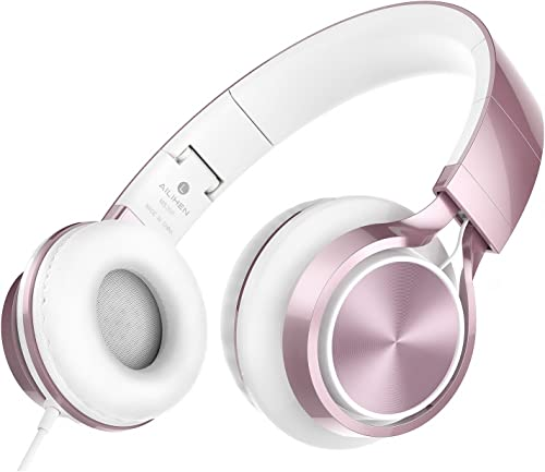 AILIHEN MS300 Wired Headphones, Stereo Foldable Headset for iOS Android Smartphone Laptop Tablet PC Computer Rose Gold