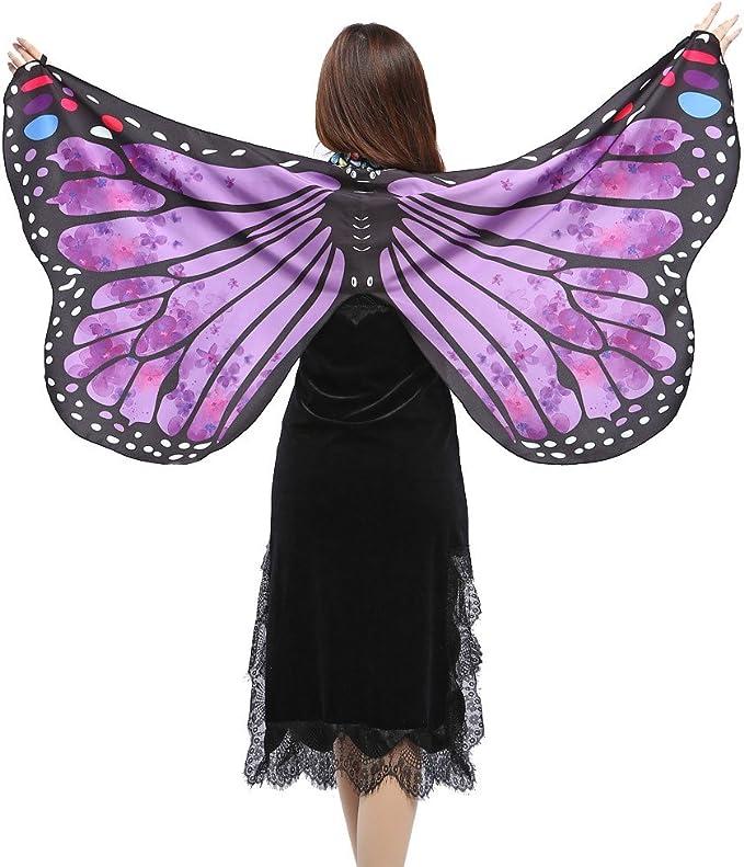 LRWEY Schmetterling kost/üm,Damen Schal Nymph Pixie Halloween Cosplay Weihnachten Kost/üm Zusatz Frauen Schal f/ür Show//Daily//Party//Karneval