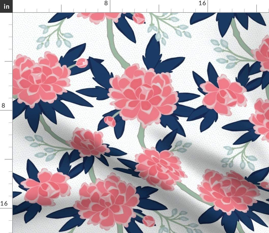 Spoonflower Fabric - Pink Navy Peonies Coral Mint Chinoiserie Printed on Denim Fabric by The Yard - Bottomweight Apparel Home Decor Upholstery